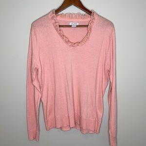 Pure Alfred Sung silk blend ruffled v-neck long sleeve lightweight sweater XL